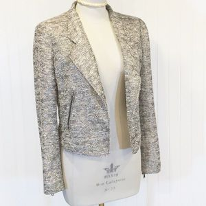 ZARA WOMAN Tweed Boucle Metallic Moto Jacket Med